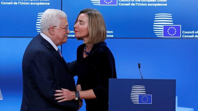 Mogherini in Brüssel mit Palästinenserpräsident Mahmud Abbas (22.1.2018 in Brüssel)