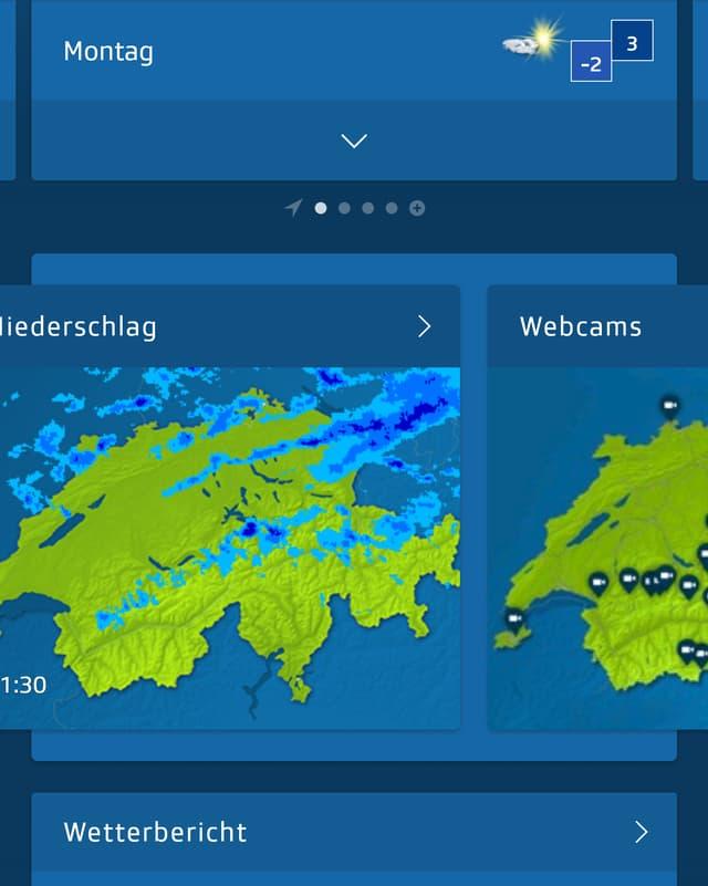 Ein Screenshot der App zeigt den Radar.