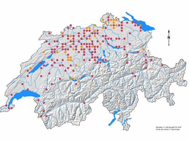Karte der Schweiz mit wenigen Punkten vor allem nördlich der Alpen