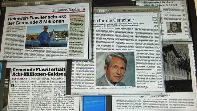 Collage aus verschiedenen Zeitungsartikel zum Thema der 8-Millionen-Schenkung