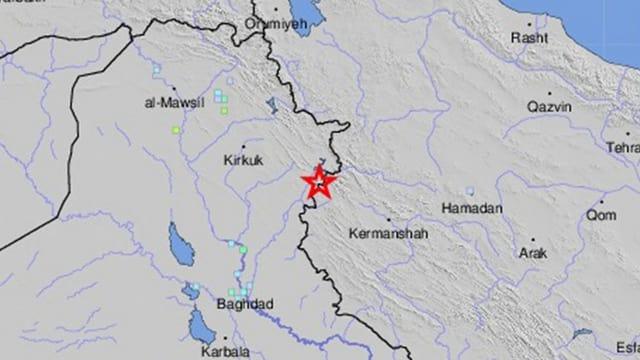 Kartenausschnitt mit eingezeichnetem Epizentrum.