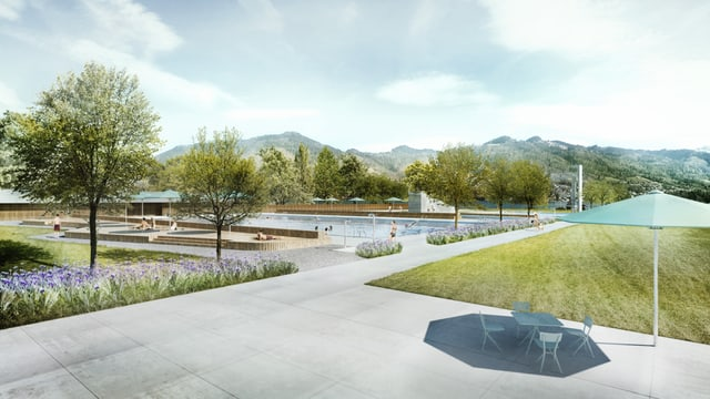 Visualisierung des renovierten Thuner Strandbades.