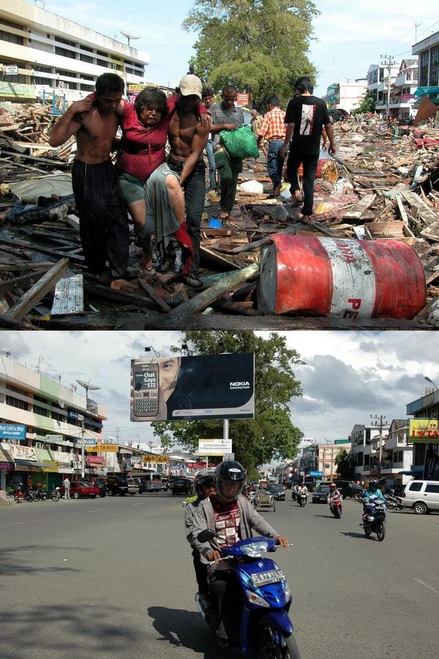 Das Kombibild zeigt das Quartier Peunayong in Banda Aceh auf der indonesischen Insel Sumatra – wenige Stunden nach dem Tsunami und fünf jahre später. (keystone)