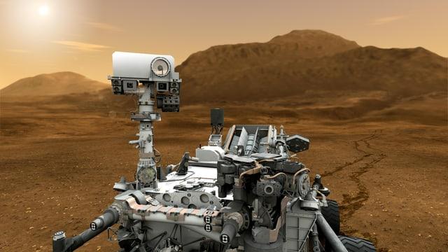 Künstlerische Darstellung des Rovers Curiosity auf der Marsoberfläche.