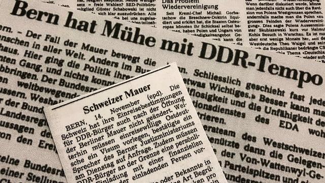 Zeitungsartikel mit Thema Schweiz und der Mauerfall.
