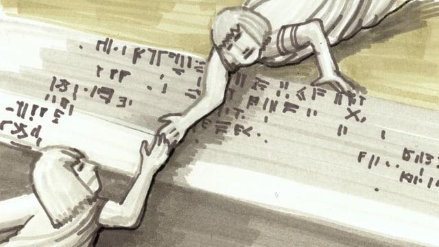 eine Zeichnung mit Hieroglyphen und zwei Menschen, die sich versuchen zu halten