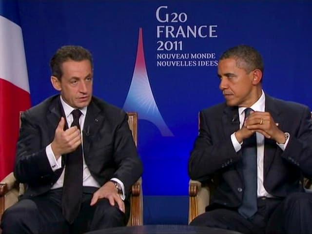 Nicolas Sarkozy und Barack Obama beim Gipfel in Cannes.