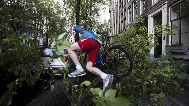 Velofahrer klettert über umgestürzten Baum