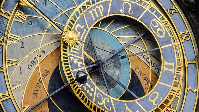 Eine Uhr mit vielen verschiedenen Ringen und Zeigern.