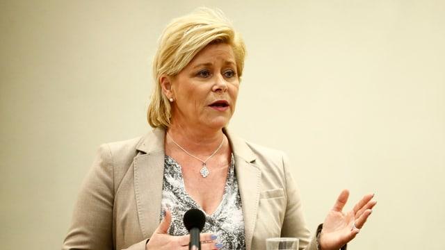 Eine Porträtaufnahme von der norwegischen Finanzministerin Siv Jensen.