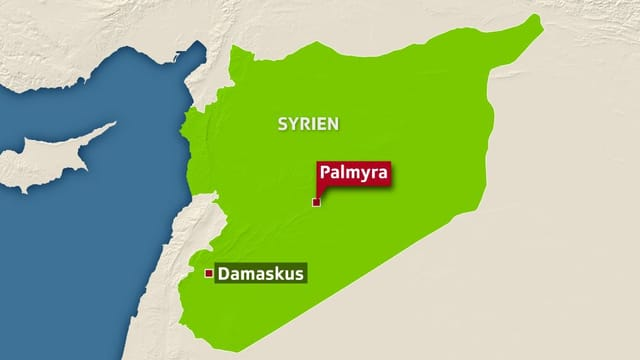 Karte von Syrien: Eingezeichnet sind Palmyra und Damaskus