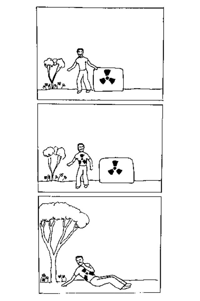 Ein Comic zeigt ein Männchen, dass sich einem Fass mit Atom-Müll-Markierung nähert und umkippt.