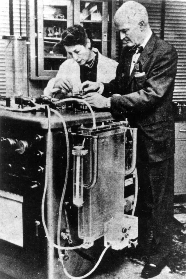 Gibbon mit Assistentin an einer Hez-Lungen-Maschine