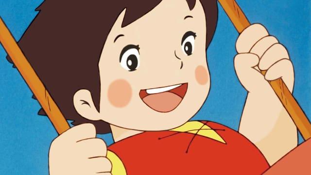 Heidi als Zeichentrickfigur auf einer Schaukel.