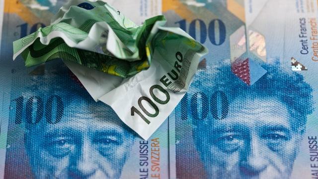 Euro- und Franken-Geldnoten