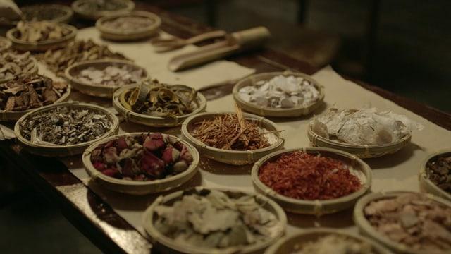 Auf einem Tisch stehen viele Gewürze in Schalen.
