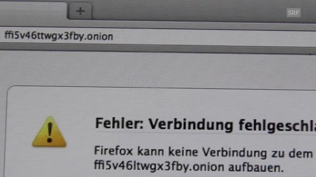 Die Adresszeile eines Tor-Browsers mit der darunterstehenden Nachricht, dass die Verbindung zur gesuchten Seite fehlgeschlagen ist.