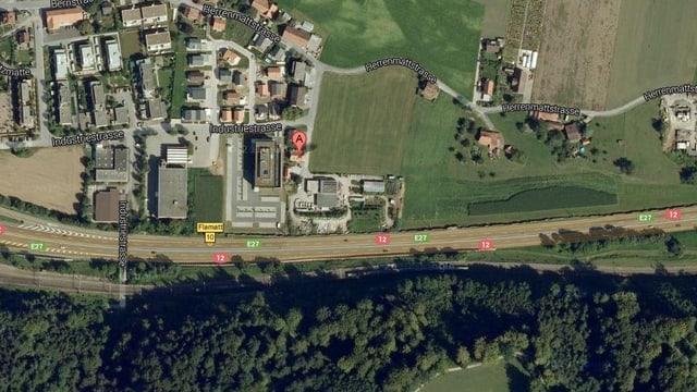 Der Standort der Flamatter Gartenbaufirma aus der Vogelperspektive.