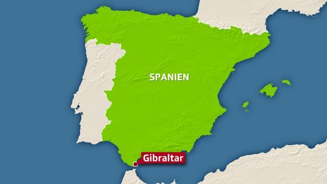 Karte von Spanien mit Gibraltar