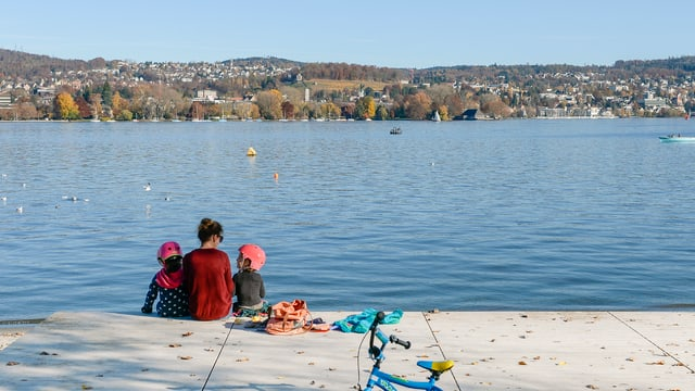 Familie an See mit Fahrrad.