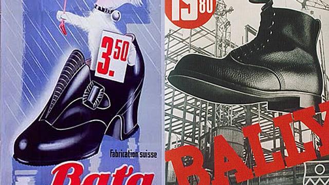 Plakate von Bata und Bally aus den 1930er Jahren