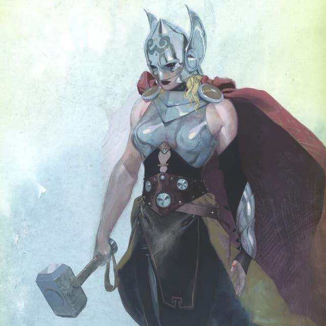 Comiczeichnung von Thor als Frau.