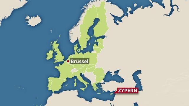 Karte von Europa mit Brüssel und Zypern.