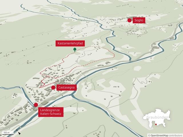 Karte des Kastanien-Lehrpfads Castasegna.