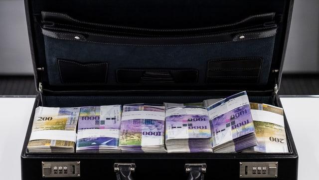 Koffer geöffnet, Tausendernoten im Innern.
