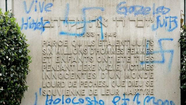 Antisemitische Schmiererei an einer Synagoge in Genf im Jahr 2005.