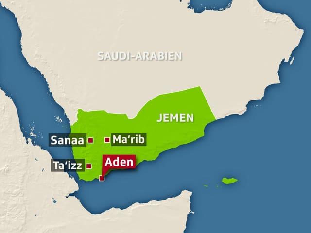 Eine Karte von Jemen
