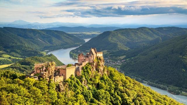 Eine Burgruine auf einem Hügel. Im Hintergrund ist ein Fluss – die Donau – zu sehen.