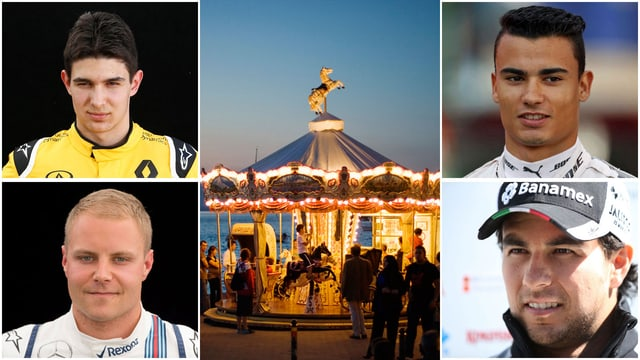 Esteban Ocon, Pascal Wehrlein, Sergio Perez, Valtteri Bottas (im Uhrzeigersinn v.o.l.)