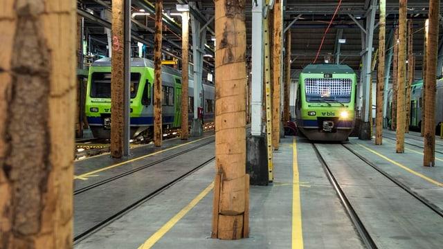 Säulen, Geleise und zwei Züge in einer Halle.