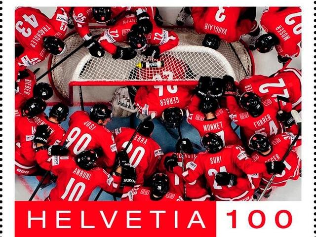 Die Schweizer Eishockey-Nati ist jetzt auf einer A-Post-Marke verewigt.