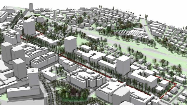 Visualisierung der Grossüberbauung Thurgauerstrasse mit 5 Hochhäusern.