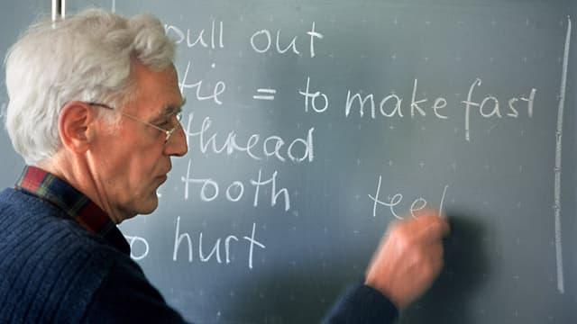 Lehrer schreibt an Wandtafel