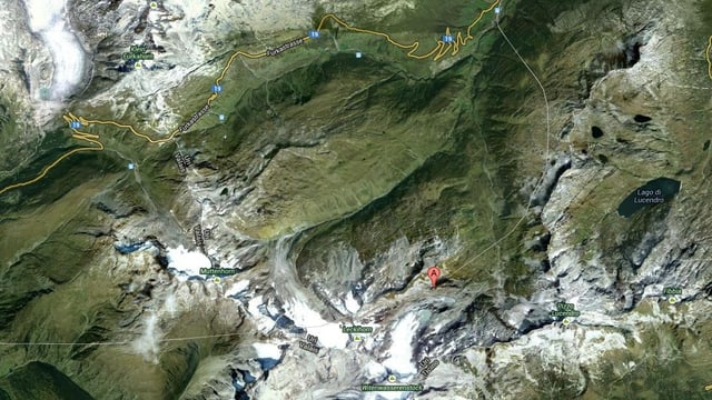 Luftaufnahme des Gebietes Rotondohütte
