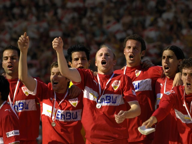 Markus Babbel, Benjamin Lauth, Michael Langer, Ludovic Magnin, Marco Streller und Sami Khedira (v.l.n.r.).