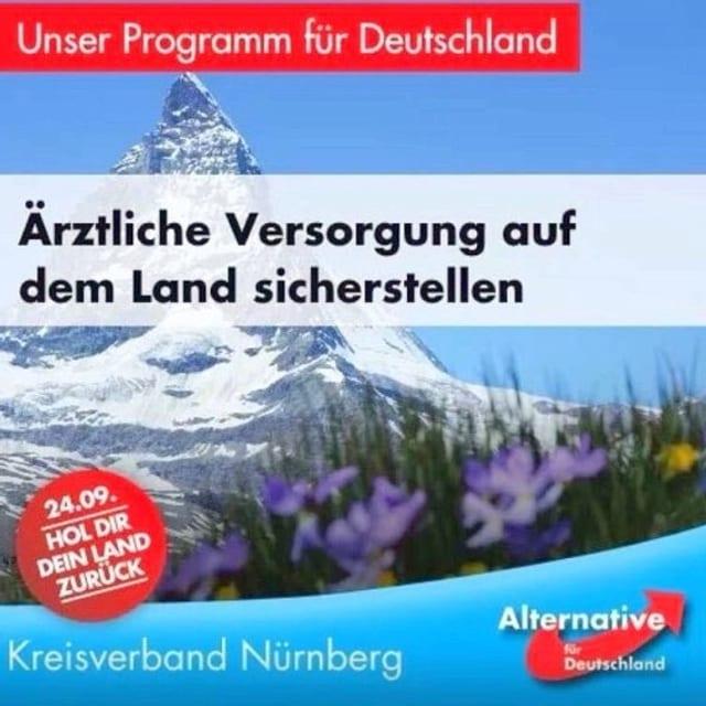 Ein AfD-Plakat mit dem Matterhorn im Hintergrund