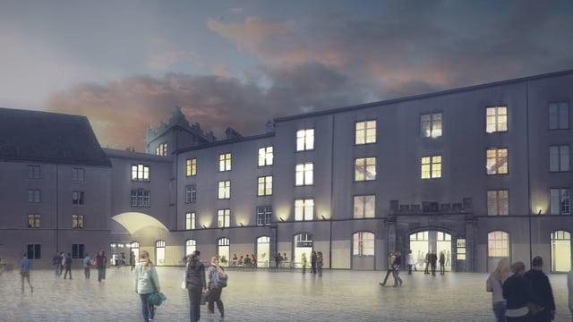 Das Siegerprojekt zeigt einen beleuchteten Kasernen-Neubau