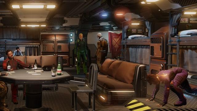 Soldaten ruhen aus in der Lounge.