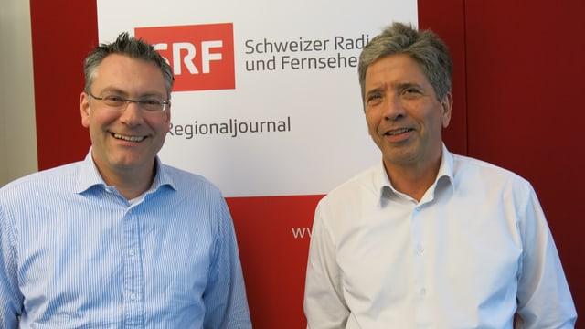 Eich und Goepfert vor SRF Logo