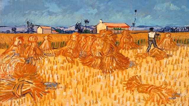 Weizenfeld, das abgeerntet wird, Gemäslde von Vincent Van Gogh.