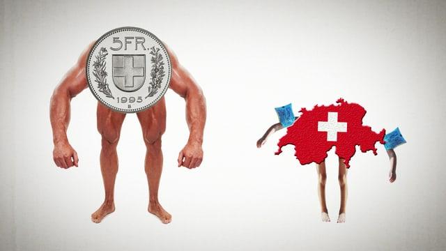 Der starke Schweizer Franken bedroht die kleine Schweiz (Symbolisch).