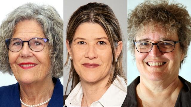 Drei Frauengesichter; mit Locken und Brille links, zusammengebundenen Haaren in der Mitte und Brille und kurzen Locken rechts
