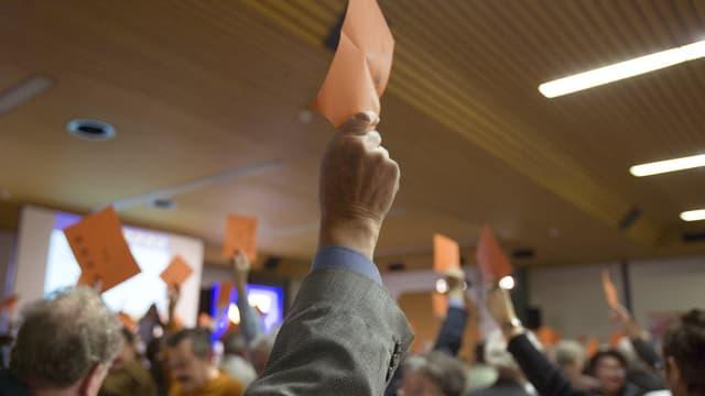 Orange Stimmkarten werden in die Höhe gehalten.