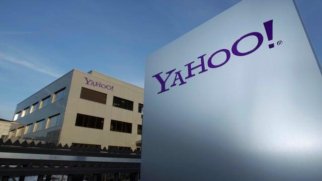 Bürogebäude von Yahoo, davor Tafel mit Firmenlogo