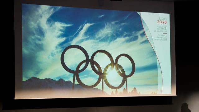 Purtret da rintgs d'olimpia ed il logo da Sion 2026.