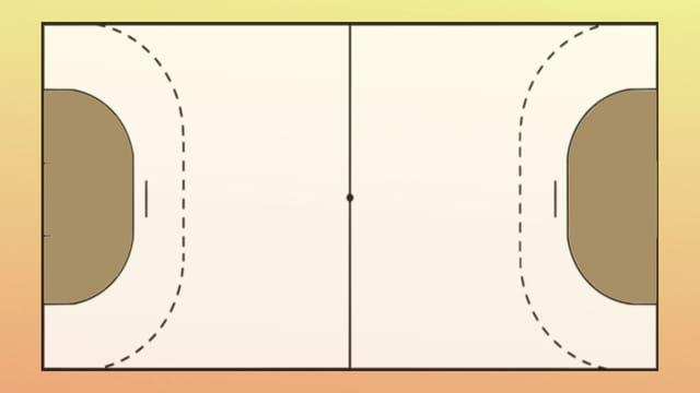 Ein Handballfeld von oben